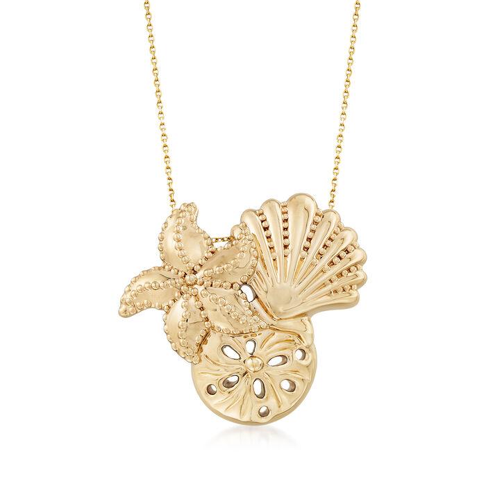 14kt Yellow Gold Sea Life Pendant Necklace, , default