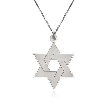 "14kt White Gold Star of David Pendant Necklace. 18"", , default"