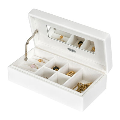 """Mele & Co. """"Opal"""" White Faux Leather Jewelry Box, , default"""
