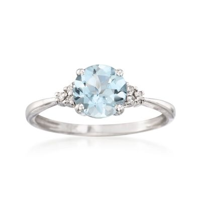 1.00 Carat Aquamarine Ring with Diamonds in 14kt White Gold