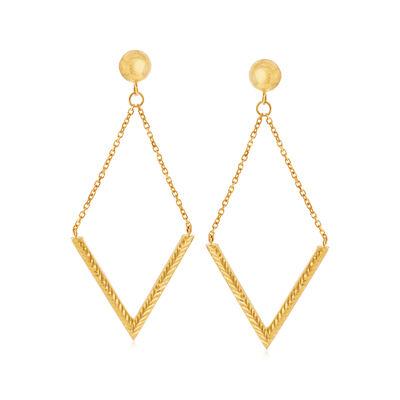 Italian 14kt Yellow Gold Open Diamond-Shape Drop Earrings