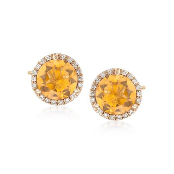 4.00 ct. t.w. Citrine and .22 ct. t.w. Diamond Stud Earrings in 14kt Yellow Gold , , default