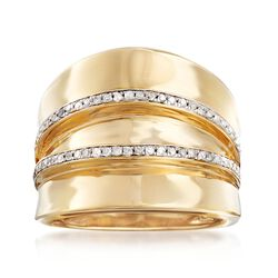 .25 ct. t.w. Diamond Two-Row Wide Ring in 18kt Gold Over Sterling, , default