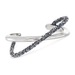 "Swarovski Crystal ""Crystaldust"" Metallic Gray Crystal Crisscross Cuff Bracelet in Silvertone. 7"", , default"