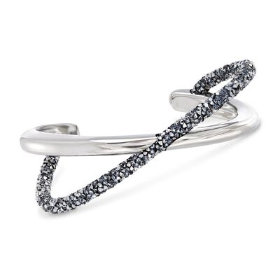 "Swarovski Crystal ""Crystaldust"" Metallic Gray Crystal Crisscross Cuff Bracelet in Silvertone, , default"