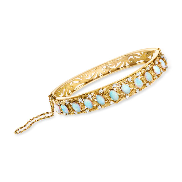 "C. 1980 Vintage Opal and .75 ct. t.w. Diamond Bangle Bracelet in 14kt Yellow Gold. 7.5"", , default"