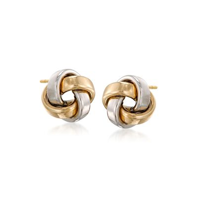 14kt Two-Tone Gold Love Knot Stud Earrings, , default