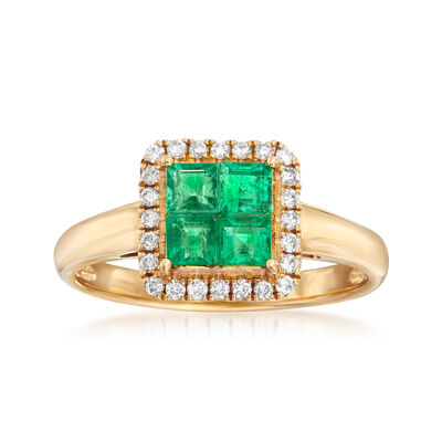 .60 ct. t.w. Emerald and .16 ct. t.w. Diamond Frame Ring in 18kt Yellow Gold