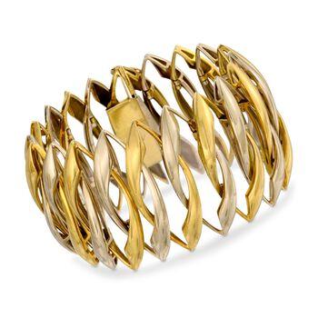 """C. 1970 Vintage 18kt Two-Tone Gold Open Navette Link Bracelet . 7.25"""", , default"""