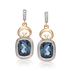 "3.00 ct. t.w. Blue Topaz and White Zircon Drop Earrings in 14kt Yellow Gold. 7/8"", , default"