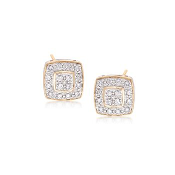 "ALOR ""Classique"" .27 ct. t.w. Diamond Square Stud Earrings in 18kt Yellow Gold , , default"