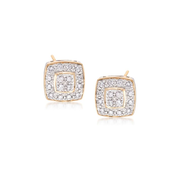 """ALOR """"Classique"""" .27 ct. t.w. Diamond Square Stud Earrings in 18kt Yellow Gold , , default"""