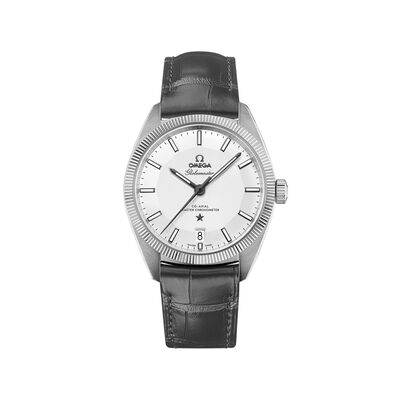 Omega Constellation Globemaster Men's 39mm Stainless Steel Watch with Gray Leather Strap, , default