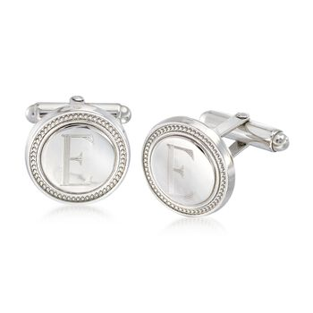 Sterling Silver Round Roped Personalized Cuff Links, , default