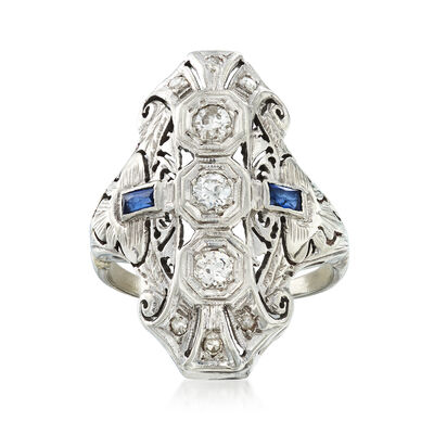 C. 1940 Vintage .35 ct. t.w. Diamond Filigree Ring with Synthetic Sapphire Accents in 18kt White Gold, , default