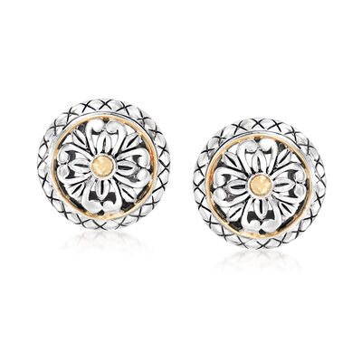 Sterling Silver and 18kt Yellow Gold Floral Earrings, , default