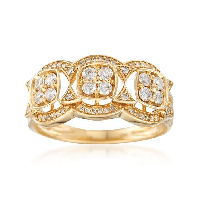 .50 ct. t.w. Diamond Scalloped Ring in 14kt Yellow Gold, , default