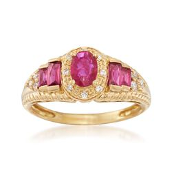.90 ct. t.w. Ruby and .15 ct. t.w. Diamond Ring in 18kt Yellow Gold, , default