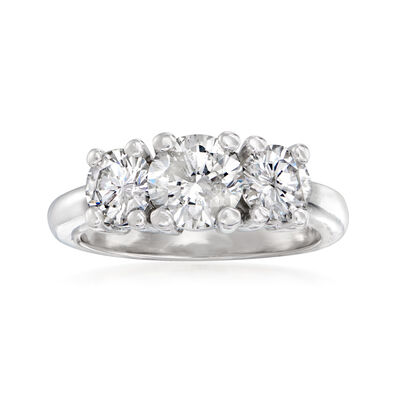 C. 2000 Vintage 2.04 ct. t.w. Diamond Three-Stone Ring in Platinum