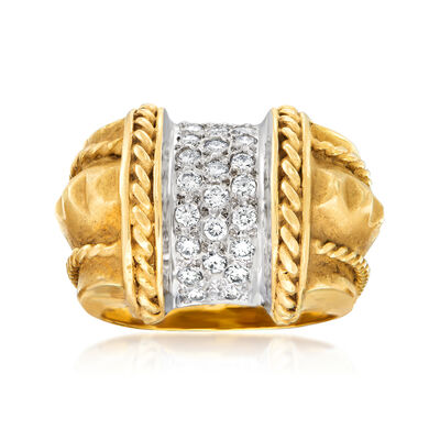 C. 1980 Vintage .60 ct. t.w. Diamond Roped-Edge Ring in 14kt Yellow Gold, , default