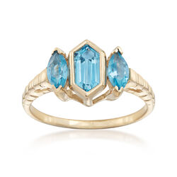 C. 1970 Vintage .65 ct. t.w. Blue Topaz and Blue Tiger's Eye Ring in 14kt Yellow Gold, , default