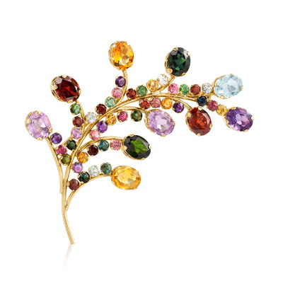 C. 1970 Vintage 18.85 ct. t.w. Multi-Gemstone Feather Pin in 14kt Rose Gold