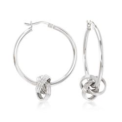 Sterling Silver Removable Knot Hoop Earrings, , default