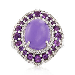 Lavender Jade and 1.00 ct. t.w. Amethyst Ring With .50 ct. t.w. White Topaz in Sterling Silver, , default