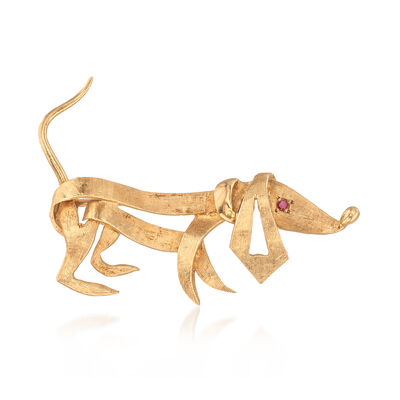 C. 1970 Vintage 14kt Yellow Gold Dog Pin with Ruby Accent, , default