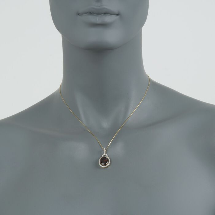 """5.00 Carat Oval Garnet and Diamond Pendant with 14kt Yellow Gold Necklace. 18"""""""