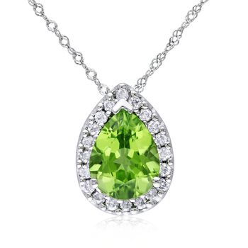 "1.60 Carat Peridot and .18 ct. t.w. Diamond Pendant Necklace in 14kt White Gold. 17"", , default"