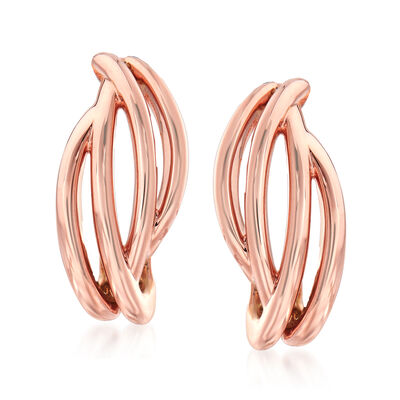 14kt Rose Gold Open-Space Twist Earrings, , default