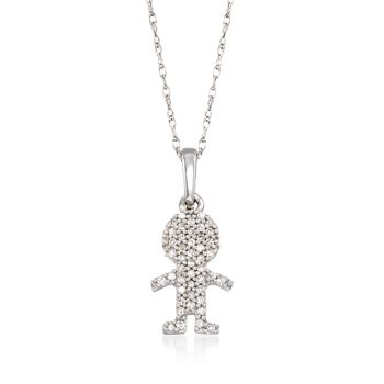 "Diamond-Accented Boy Silhouette Pendant Necklace in 14kt White Gold. 18"", , default"