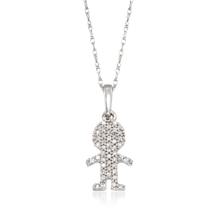 """Diamond-Accented Boy Silhouette Pendant Necklace in 14kt White Gold. 18"""", , default"""