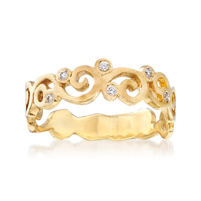14kt Yellow Gold Spiral Ring with Diamond Accents, , default