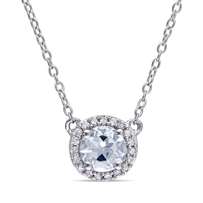 .70 Carat Aquamarine Necklace with Diamond Accents in Sterling Silver