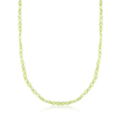 45.00 ct. t.w. Peridot Bead Necklace in Sterling Silver, , default