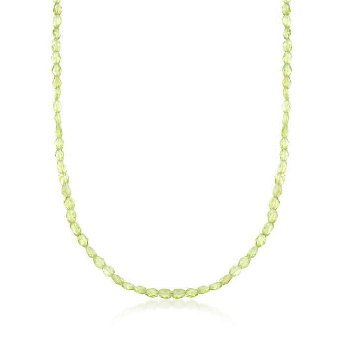 "45.00 ct. t.w. Peridot Bead Necklace in Sterling Silver. 18"", , default"