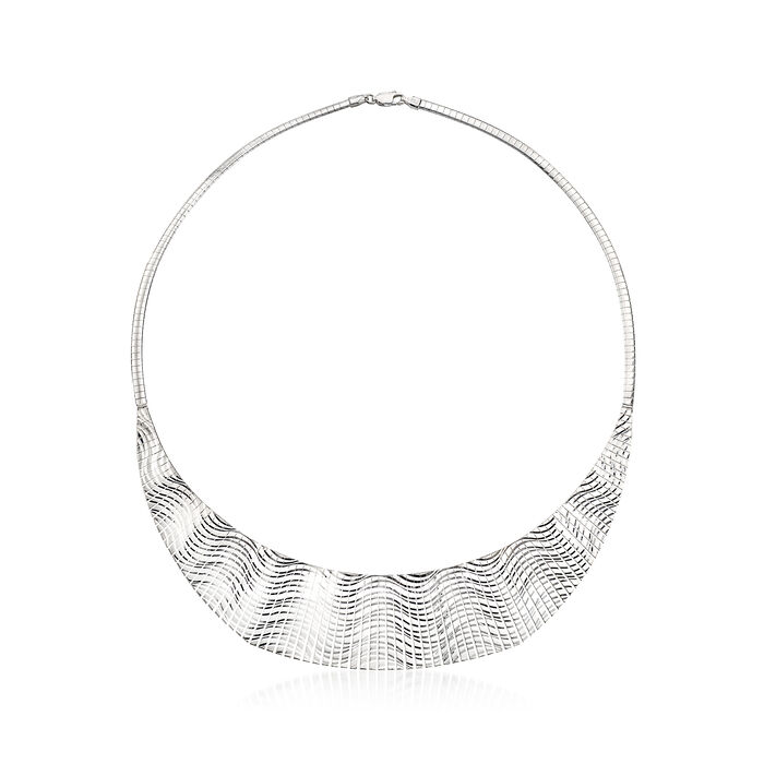 Italian Sterling Silver Wave-Patterned Cleopatra Necklace