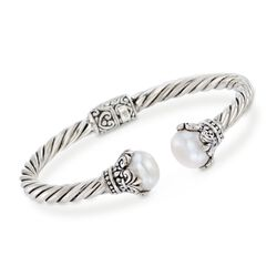 Balinese 10-11mm Cultured Pearl Cuff Bracelet in Sterling Silver, , default