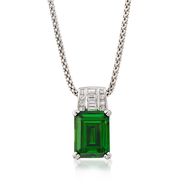 Simulated Emerald and .25 ct. t.w. CZ Pendant Necklace in Sterling Silver. 18""
