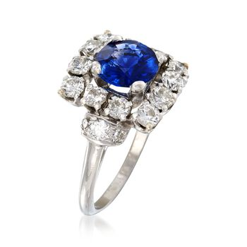 C. 1950 Vintage 1.57 Carat Sapphire and 1.45 ct. t.w. Diamond Ring in Platinum. Size 6, , default