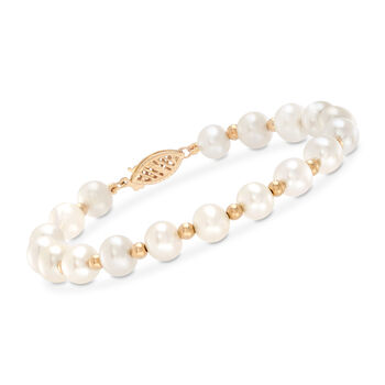 6-7mm Cultured Pearl Bracelet With 14kt Yellow Gold, , default