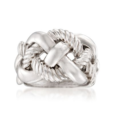 Italian Sterling Silver Wide Braided Ring, , default
