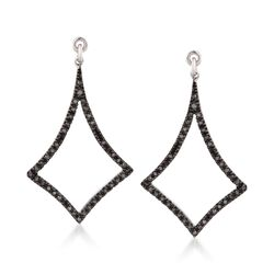 .25 ct. t.w. Black Diamond Earring Jackets in 14kt White Gold Over Sterling, , default