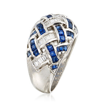 C. 1990 Vintage 2.80 ct. t.w. Sapphire and .50 ct. t.w. Baguette Diamond Basketweave Ring in 14kt White Gold. Size 7.5, , default