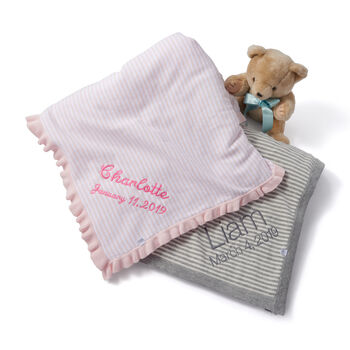 Pink and White Stripe Cotton Baby Blanket, , default
