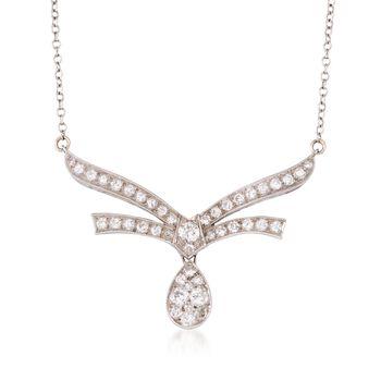 "C.1970 Vintage 1.60 ct. t.w. Pave Diamond Necklace in 14kt White Gold. 14.5"", , default"