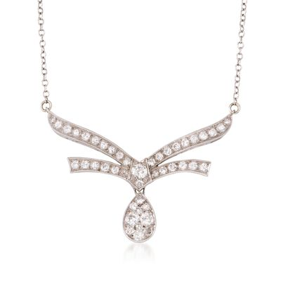 C.1970 Vintage 1.60 ct. t.w. Pave Diamond Necklace in 14kt White Gold, , default