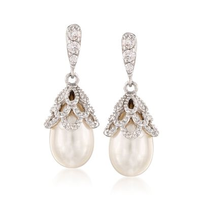 8mm Cultured Pearl and .15 ct. t.w. CZ Drop Earrings in Sterling Silver